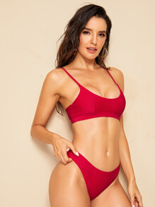 Spaghetti Strap Top With Cheeky Bikini Set