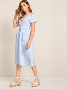 V-neck Striped Button Front Dual Pocket Dress