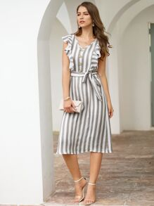 Striped Button Front Ruffle Trim Belted Dress