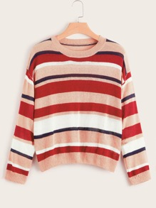 Plus Muti-stripe Drop Shoulder Jumper