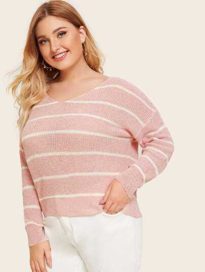 Plus Striped V-neck Sweater