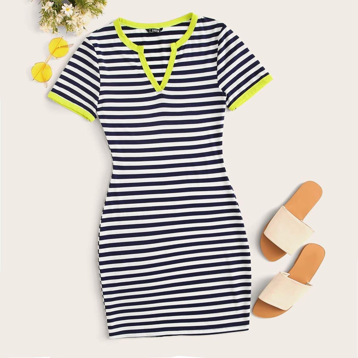 Облегающее Платье В Полоску С Контрастной Отделкой от SHEIN