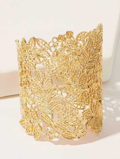 Leaf Design Wide Cuff Bracelet 1pc