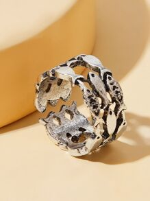 Fish Design Hollow Out Cuff Ring 1pc
