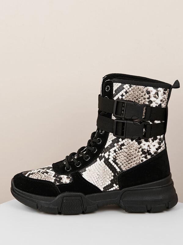 0aeaaeac72e Lace Up Snake Print Side Buckle Hiking Boots