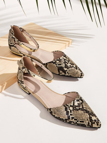 Point Toe Snakeskin Ankle Strap Flats