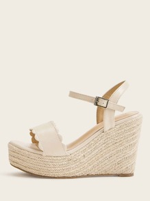 Scalloped Trim Buckle Strap Espadrille Wedges