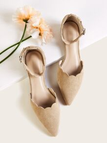 Point Toe Suede Scalloped Ankle Strap Flats