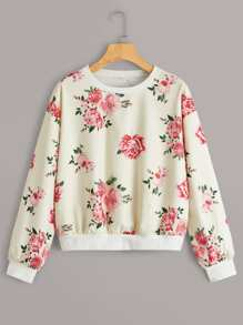 Floral Print Drop Shoulder Sweatshirt
