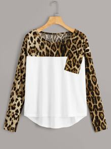 Contrast Leopard Print High Low Tee