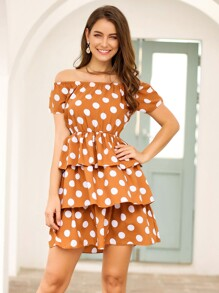 Polka Dot Layered Hem Bardot Dress