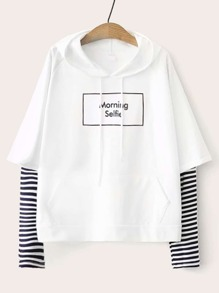 Letter Graphic Striped Sleeve Drawstring Hoodie