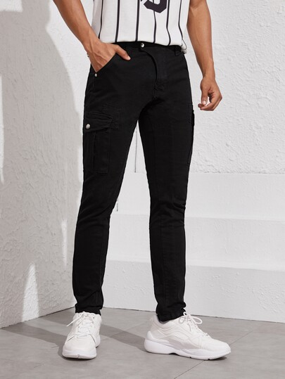 Guys Solid Side Pockets Straight Leg Jeans