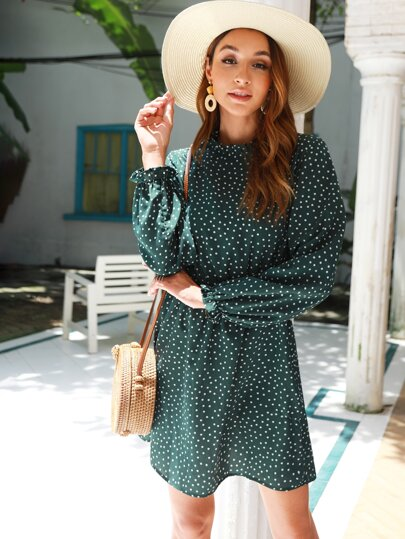 Polka Dot Frill Trim Long Sleeve Dress