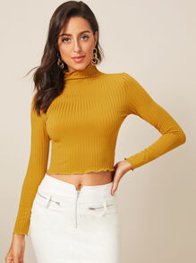 Ribbed High Neck Lettuce Trim Jumper