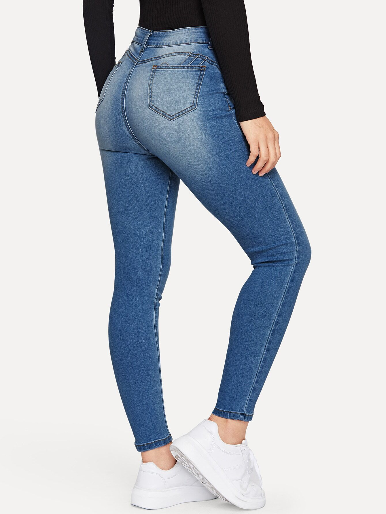 Stonewash Slant Pocket Skinny Jeans thumbnail