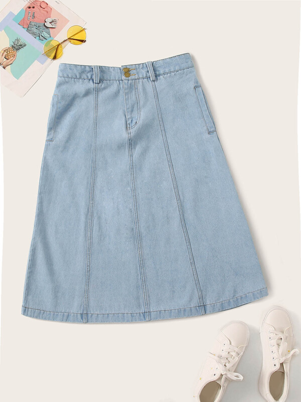 d61378bf03 Light Wash Topstitching A-line Denim Skirt