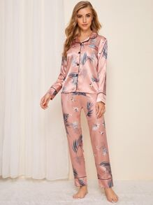 Crane & Leaf Print Satin Pajama Set