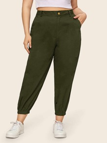 Plus Army Green Dual Pocket Sweatpants