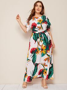 Plus Tropical And Floral Print Petal Sleeve Belted Dress