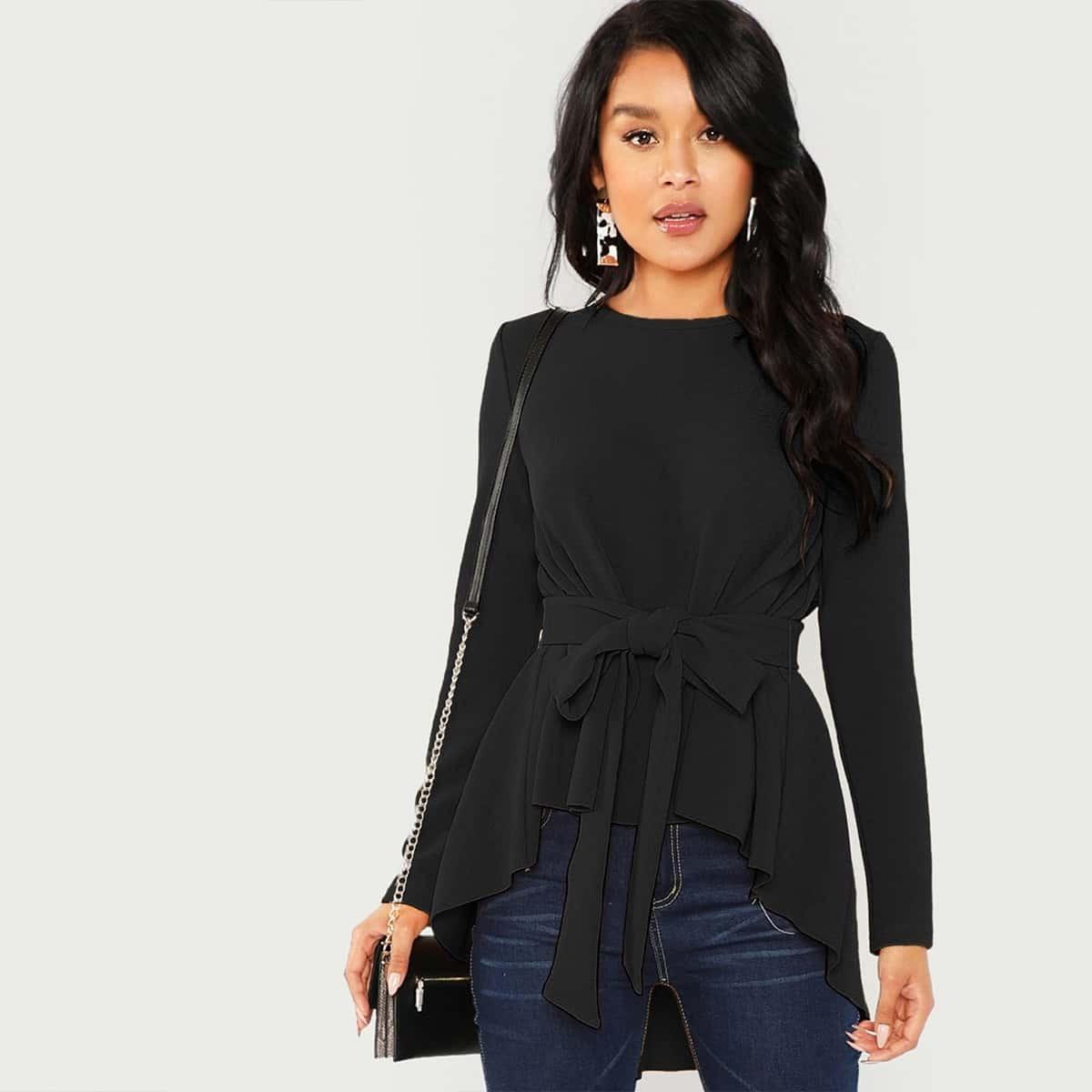 Блуза с длинным рукавом ассиметричный низ пояс бант