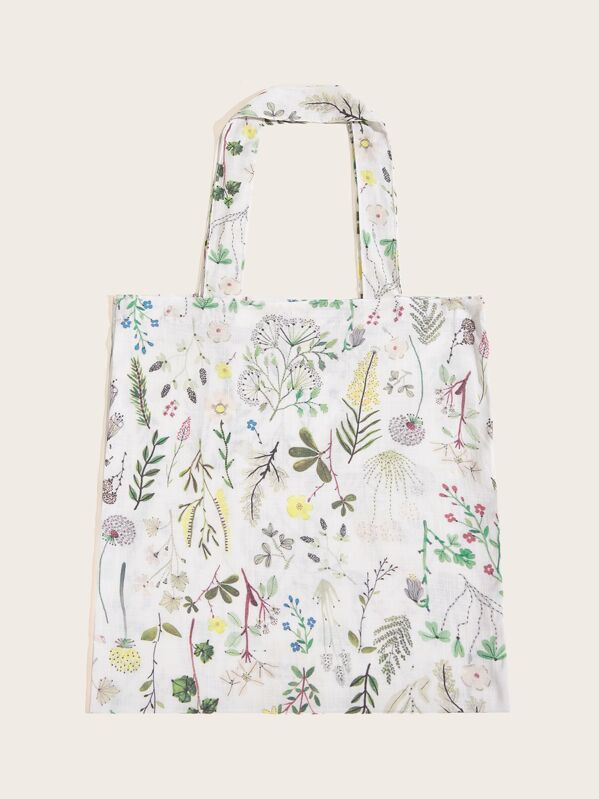 073fdec7 Plants Pattern Cotton Tote Bag | SHEIN UK