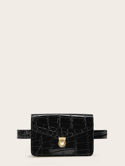 Push Lock Croc Embossed Fanny Pack