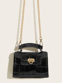 Metal Lock Chain Strap Satchel Bag