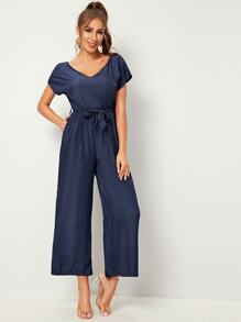 V-neck Zip Back Solid Belted Jumpsuit
