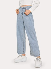 Solid Wide Leg Washed Jeans