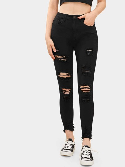 Solid Ripped Raw Hem Jeans
