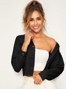Solid Crop Denim Jacket