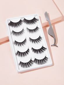 Natural Thick Fake Eyelashes 5pairs With Tweezers