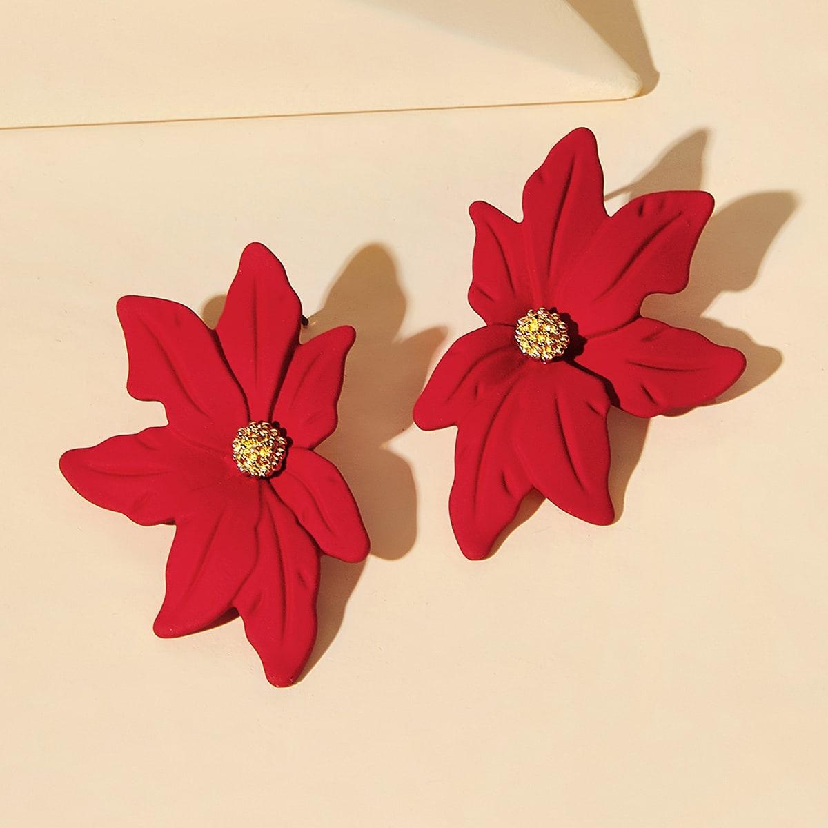 Серьги с цветочным дизайном 1 пара