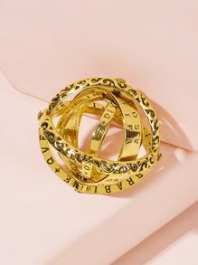 Letter Engraved Rotatable Ring 1pc