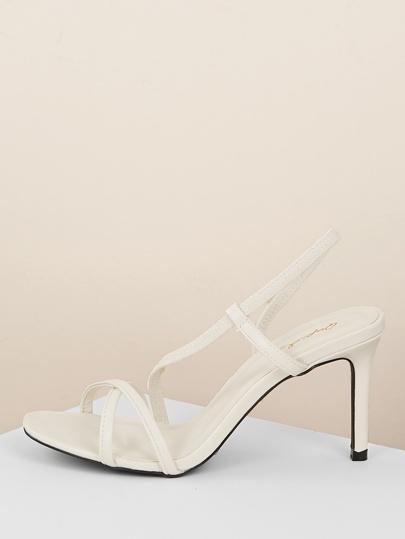 35fc14304 Strappy Slingback Low Stiletto Heel Sandals