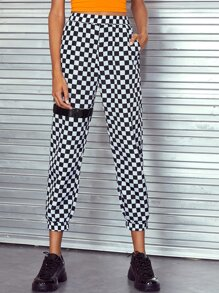 Checker Pocket Side Elastic Waist Pants