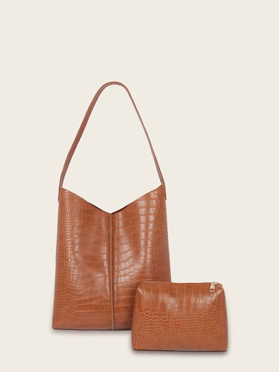 Croc Embossed Tote Bag With Inner Pouch