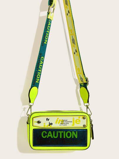 Neon Lime Letter Print Crossbody Bag