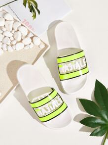 Letter Print Open Toe Sliders