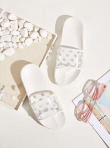 Polka Dot Open Toe Sliders