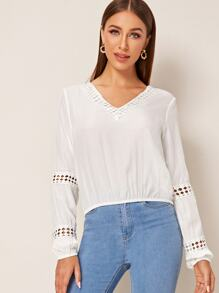 Lace Panel Cut Out Solid Blouse