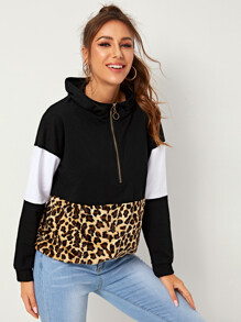 Leopard Print Zipper Contrast Panel Hooded Sweatshirt