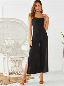 Wide Leg High-Slit Cami Jumpsuit