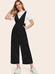 Solid Wide Leg Corduroy Jumpsuit