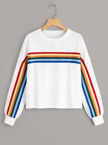 Rainbow Striped Drop Shoulder Sweatshirt