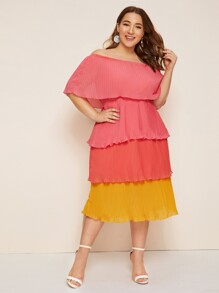 Plus Off The Shoulder Colorblock Tiered Layer Dress
