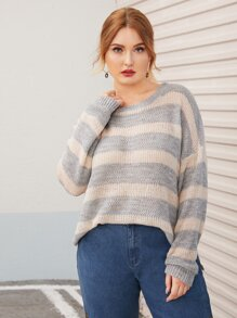 Plus Colorblock Pointelle Drop Shoulder Sweater