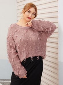 Plus Frayed Drop Shoulder Sweater