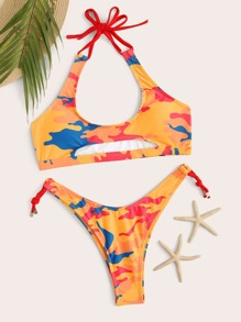 Camouflage Cut Out Halter Bikini Set